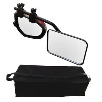 CARAVAN SWIVEL TOWING WING MIRROR with STORAGE BAG flat glass trailer x 1 mirror